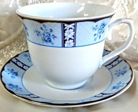 Blue Floral Wholesale Tea Cup and Saucer | Inexpensive Bulk