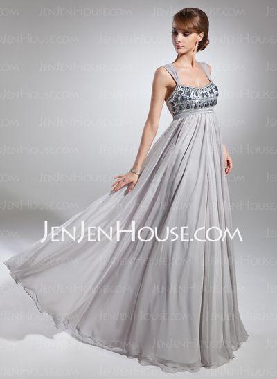 Corte imperial Escote redondo Vestido gasa Charmeuse Vestido de madrina con Volantes Cuentas (008015093)