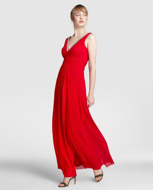 Vestido largo de mujer Fiesta El Corte Inglés en color rojo