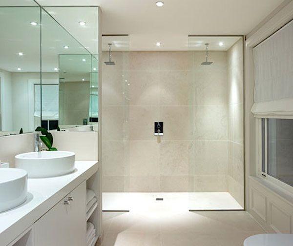 Banheiros com chuveiro de teto  dicas de decoração  Solar, Cuba e Caixas -> Gabinete Com Cuba Para Banheiro Barato