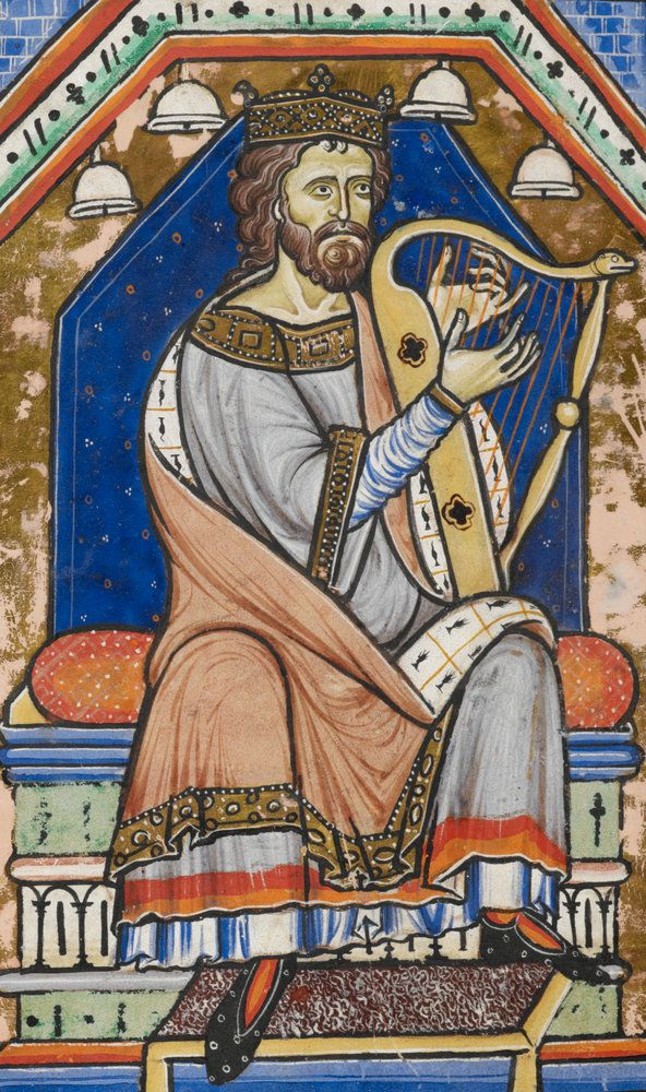 King David playing the harp by Anonymous - British Library Prints I'm guessing 12th century, but need to double check.