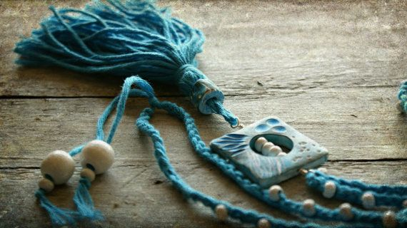 Tassel Necklace, White Wooden Beads Necklace, Polymer Clay Beaded Necklace, Boho Necklace, Turquoise Blue and White Necklace.