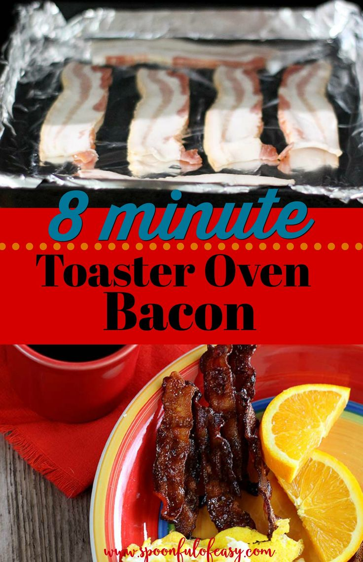 Toaster oven bacon is an easy way to enjoy bacon every morning or cook up a few pieces for a recipe with zero time and attention from you. It bakes up crisp in just eight minutes. #toasterovenbacon #toasteroven #bacon #baconbreakfast #spoonfulofeasy