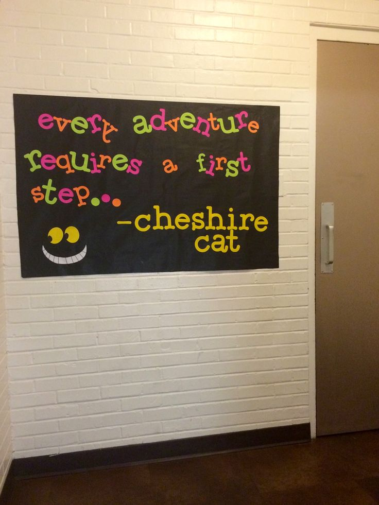 Alice in Wonderland Residence Hall decorations - Welcome Sign when entering floor