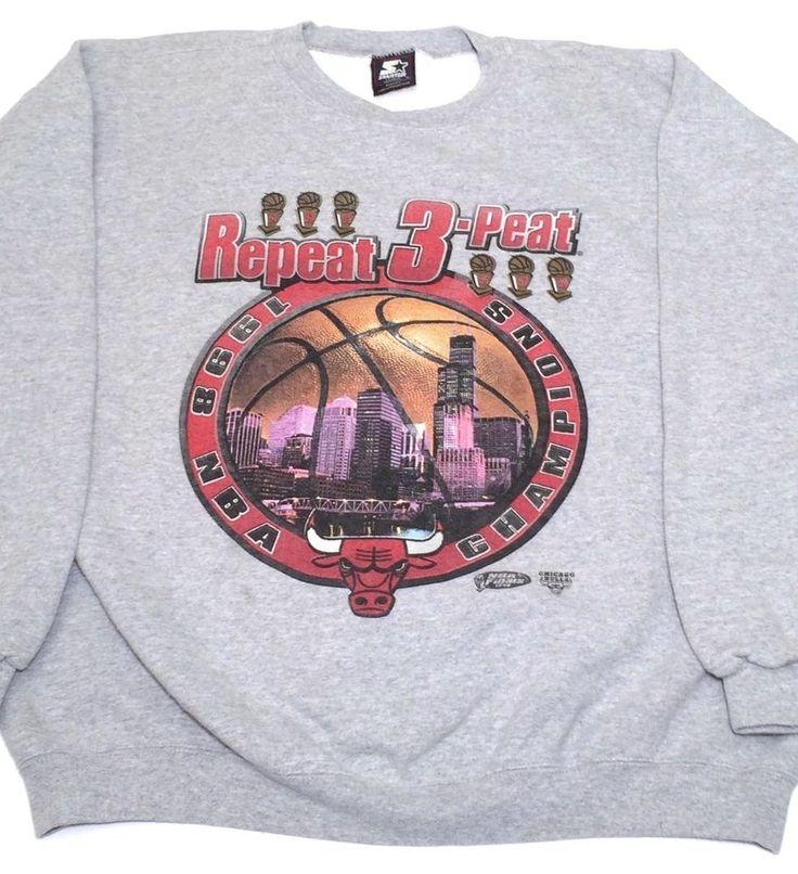 Chicago Bulls 3 Peat NBA Champions 90s Vintage Starter Sweatshirt Jordan Men XL #Starter #ChicagoBulls