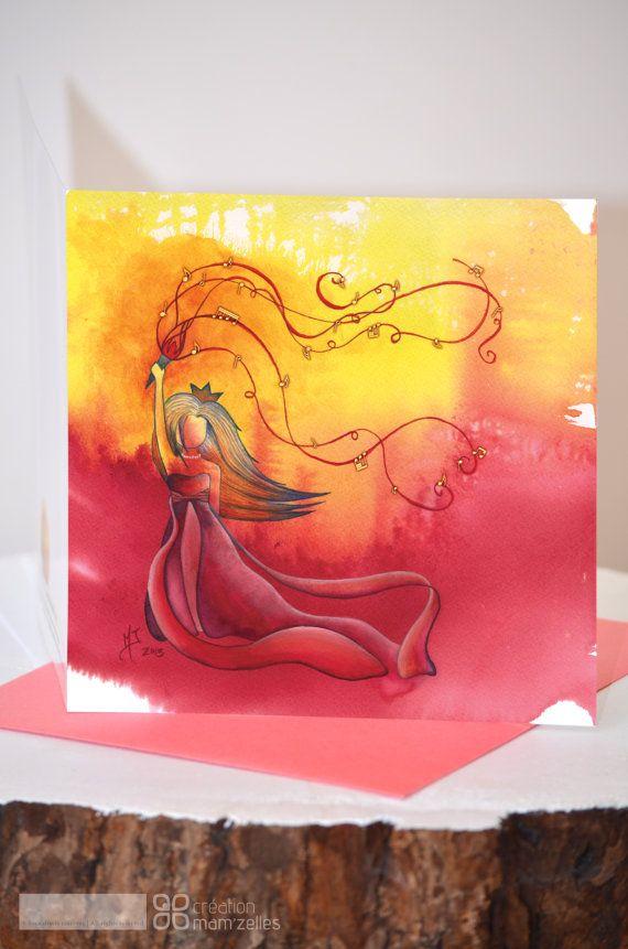 Carte de souhaits dune Princesse aux couleurs par CreationMamzelles