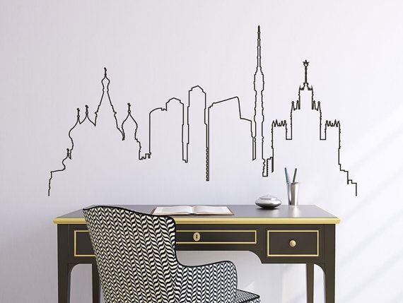Skyline della città di Mosca di decalcomania, bellissima città skyline decalcomania, soggiorno decalcomania, Decalcomanie e camera da letto, vinile adesivo, adesivi in vinile da parete