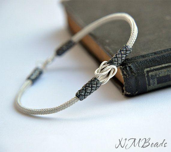 Fine Silver Woven Chain Men's Bracelet,Hand in Hand by NMBeadsJewelry