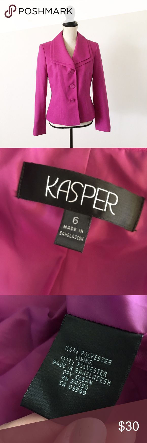 Kasper Hot Pink Blazer In like new condition, very classy and an amazing color. 25% off of bundles! Kasper Jackets & Coats Blazers