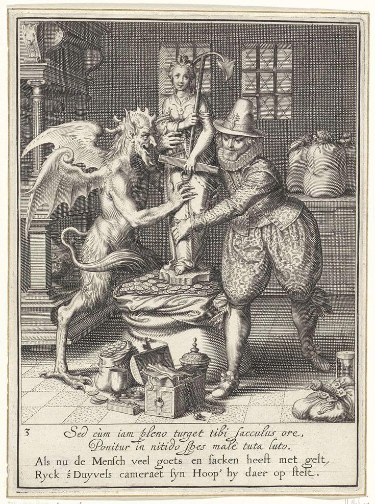 Willem Isaacsz. van Swanenburg | Duivel en een man bij een standbeeld, Willem Isaacsz. van Swanenburg, Maarten van Heemskerck, 1609 | Op een zak met geld staat een standbeeld van een vrouw met een anker als symbool van hoop. Het beeld wordt vastgehouden door de duivel en een man. Voor hen liggen enkele kostbaarheden op de grond. Onder de voorstelling bevindt zich een tweeregelige, Latijnse tekst en een tweeregelig, Nederlands gedicht waarin de voorstelling en de betekenis ervan wordt…