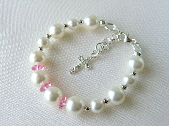 White Baby Bracelet for Christening Baptism, perfect for birthday gift, flower girls or baby shower gift  By CharlotteJewelryBox