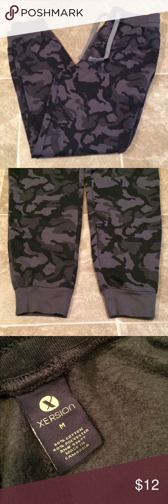 Xersion camouflage sweatpants Dark gray and black Xersion camouflage sweatpants. Size M  Smoke free and pet free home  Reasonable offers accepted  Bundle and save! Xersion Pants Sweatpants & Joggers