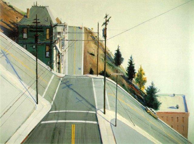 http://www.fubiz.net/2015/06/17/beautiful-roads-and-city-paintings-by-wayne-thiebaud/