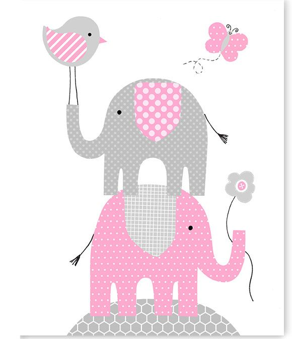 Pink And Gray Elephant Baby Shower Decorations: Grey And Pink Elephant Nursery Wall Art, Bird, Butterfly
