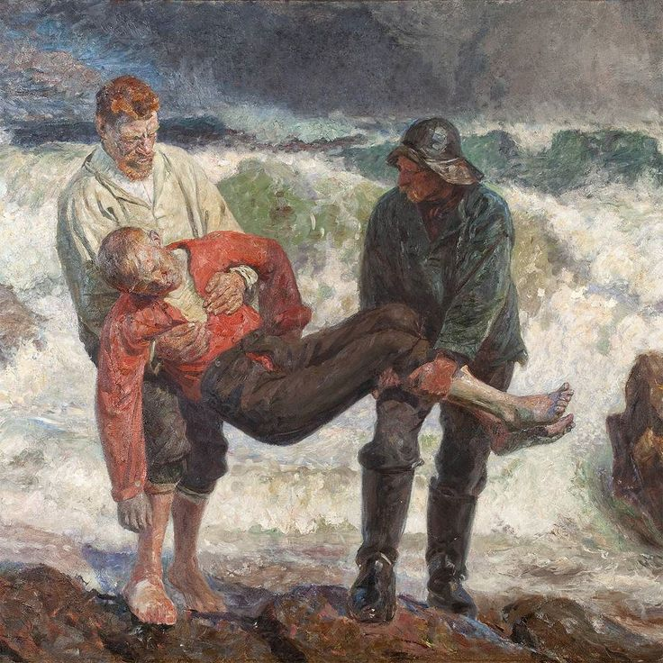 'The drowned boy is brought ashore' by Laurits Tuxen 1913. This painting was the last work that Laurits Tuxen exhibited at the Salon in Paris. The theme of the drowning at sea is best known in the works of the Skagen painters in Michael Anchers painting 'The drowned' from 1896. But Anchers dark interior has been replaced with open air sunshine and vibrant colours. Tuxen took a photograph of the three fishermen to help create the motif. He also made many sketches and modelled several small…