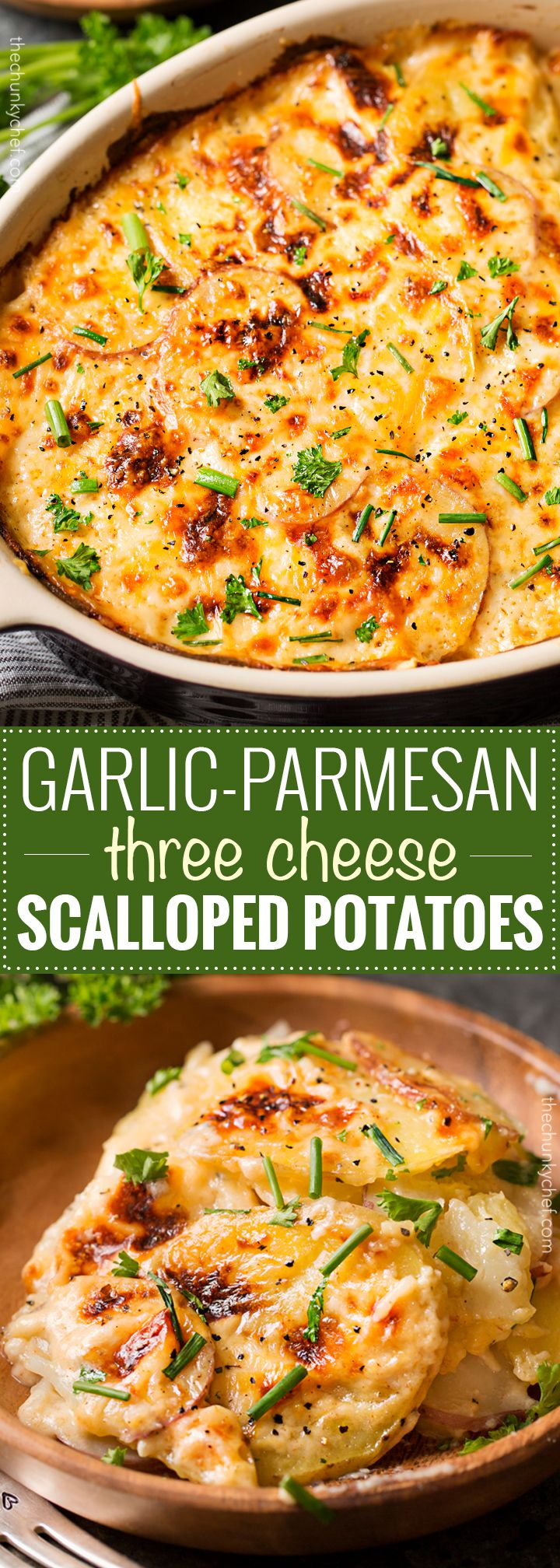 Garlic Parmesan Cheesy Scalloped Potatoes | Velvety soft and tender layers of two kinds of potatoes, smothered in a rich 3 cheese garlic sauce, then topped with extra cheese for a perfectly crispy top! It's the scalloped potato dish you've been dreaming of your entire life!