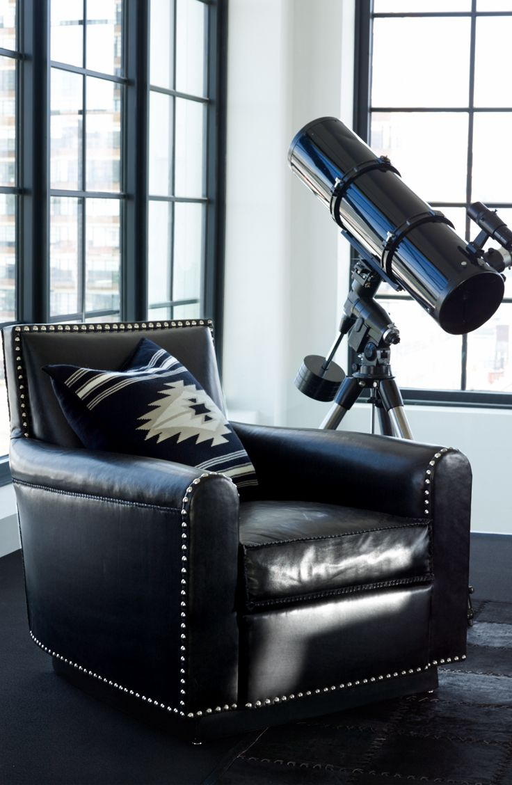 Black leather club chair nailhead - Ralph Lauren Home S Black Leather Colorado Club Chair Featuring Distressed Leather With Whipstitched Edges And