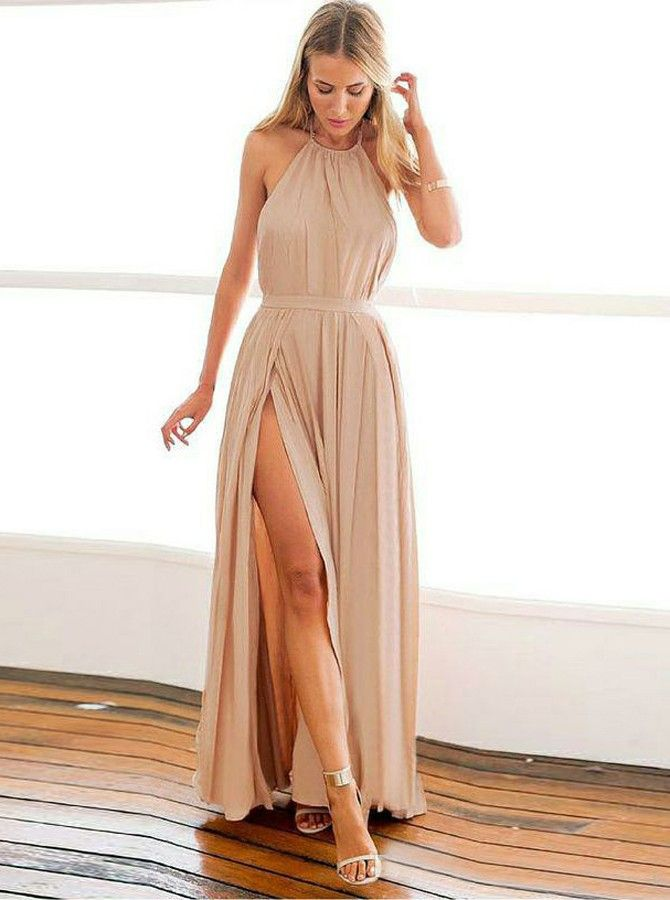 A-Line Halter Backless Floor-Length Blush Prom Dress with Pleats