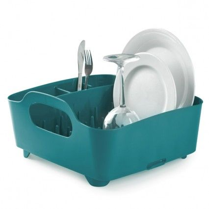 Umbra Tub Dish Rack - Teal - Modern Dish and Cutlery Drainer
