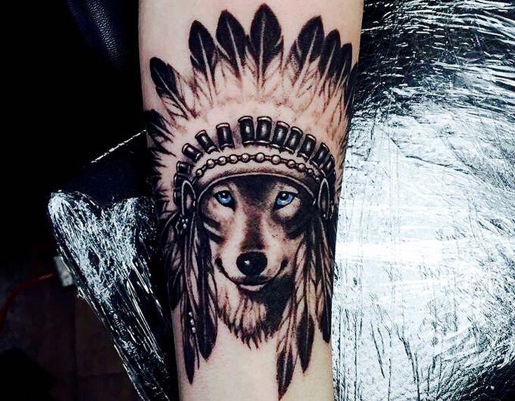 Native american wolf headdress tattoo