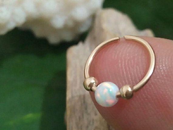 Hoop Earring white opal gold hoop silver cartilage by jewelryglow