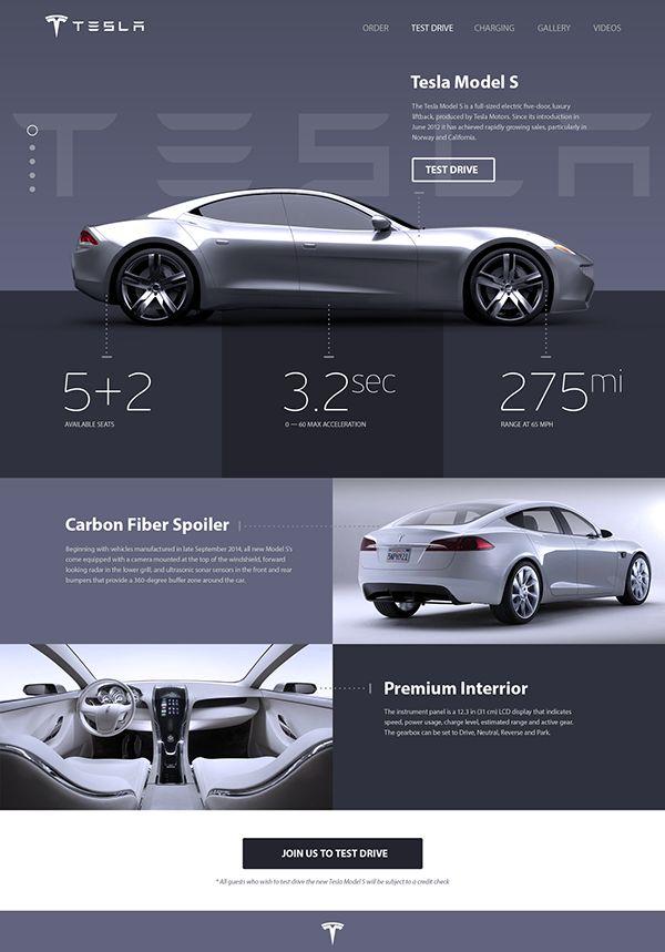 Tesla «Model S» Promosite Concept on Behance