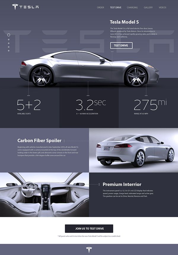 Tesla «Model S» Promosite Concept on Behance