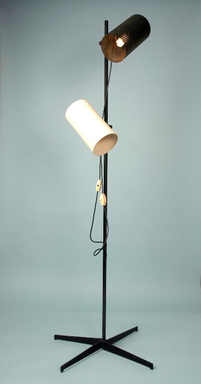 John and Sylvia Reid; Enameled Metal and Brass Floor Lamp for Rotaflex, 1956.