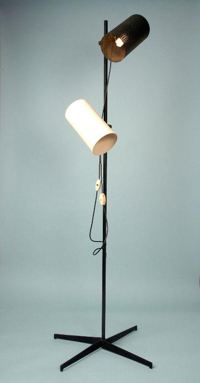 John and Sylvia Reid; Enameled Metal and Brass Floor Lamp for Rotaflex, 1956.