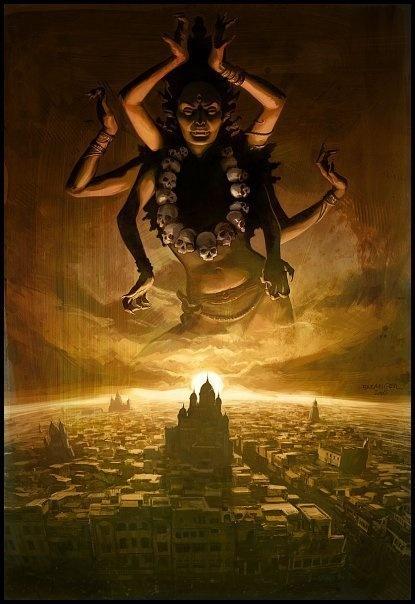 "JAI MATA KALI, JAI MATA DURGE, KALI, DURGE, NAMO NAMAH Jay (or Jai) mata Kali = Victory to Mother Kali, Jai Mata Durge = Victory to Mother Durga Kali Durge = Kali (and) Durga (they are the same), Mata"" is used with the name of Indian goddesses to stress their motherly aspect namoh namah - in Hindu hymnody, this means something akin to ""sacred name"""