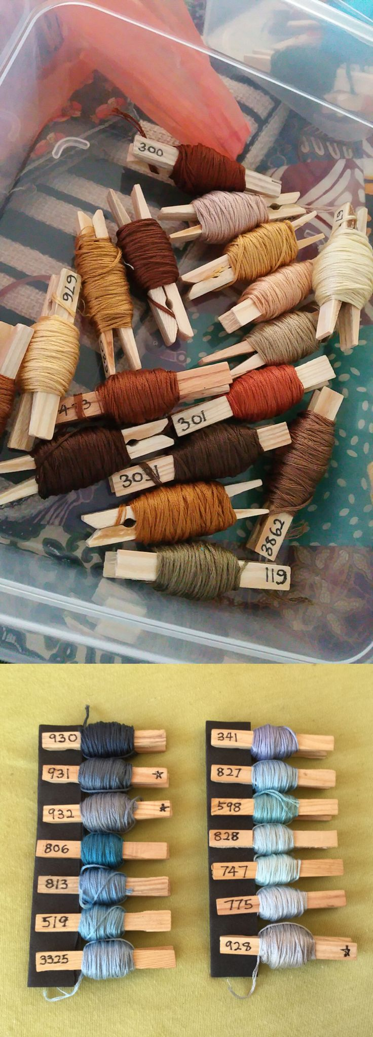 Keep embroidery threads in order by labeling their color codes on clothes pegs.                                                                                                                                                                                 More