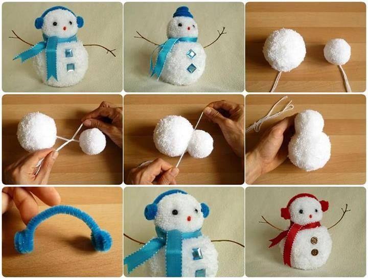 DIY Pompom snowman