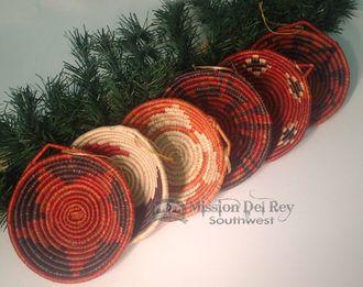 Navajo Style Mini Basket Christmas Ornament Set 6 pc. (o48)