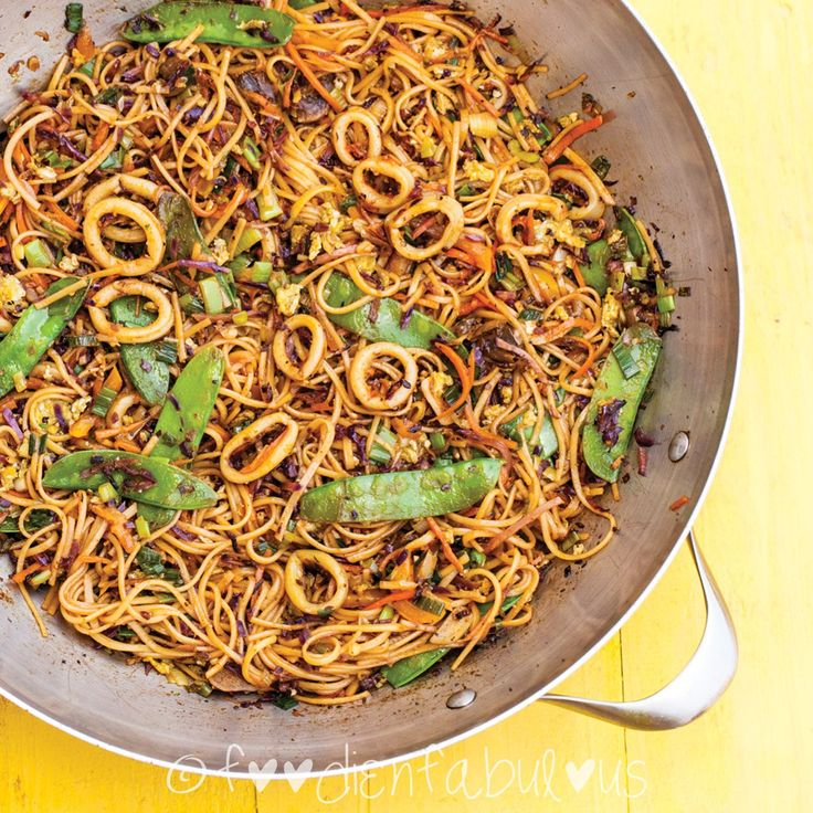Squid Hakka Noodles recipe inspired from famous street side Indo-chinese recipes that are an inseparable part of India's food culture.