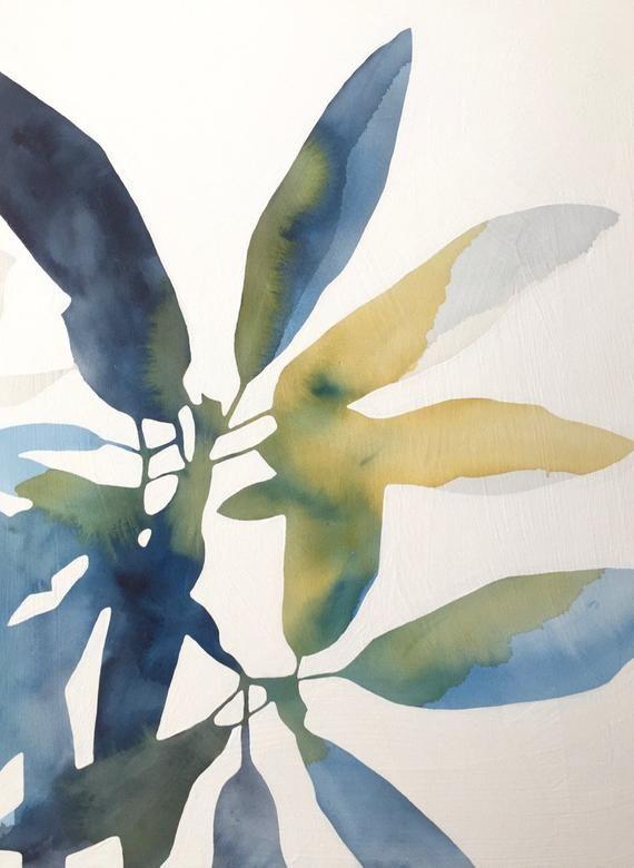 Watercolor Botanical Painting Modern Abstract Watercolor Art