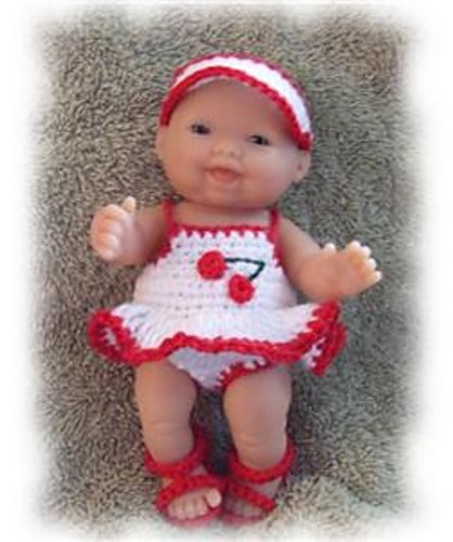 """Ravelry: Cherry Swimsuit for 5"""" Berenguer Doll Clothes pattern by Amy Carrico"""
