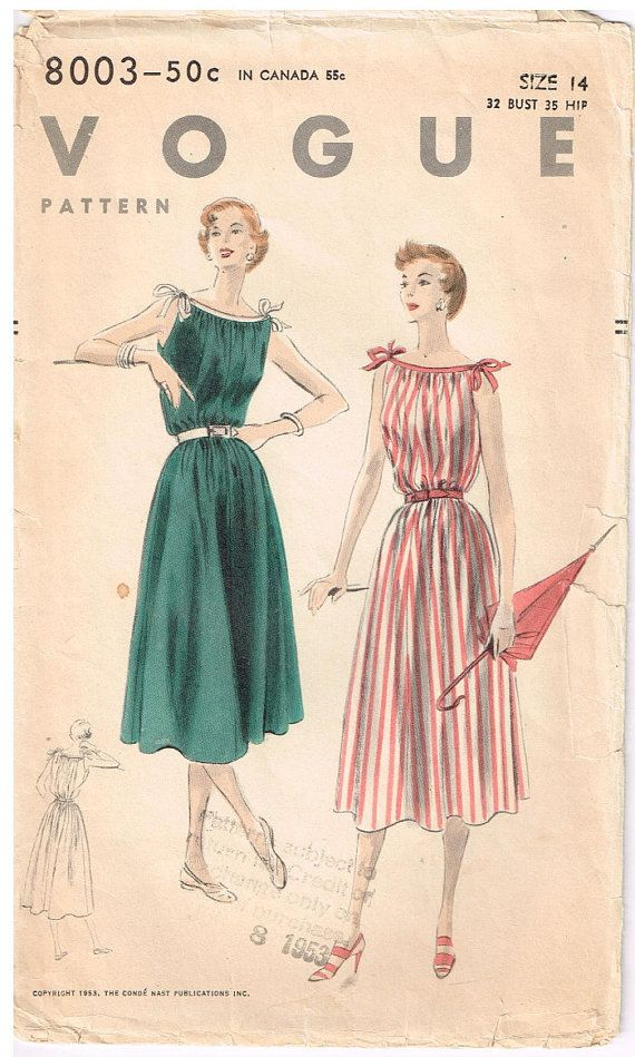 8003 Vogue Misses' sleeveless dress without waistline seam
