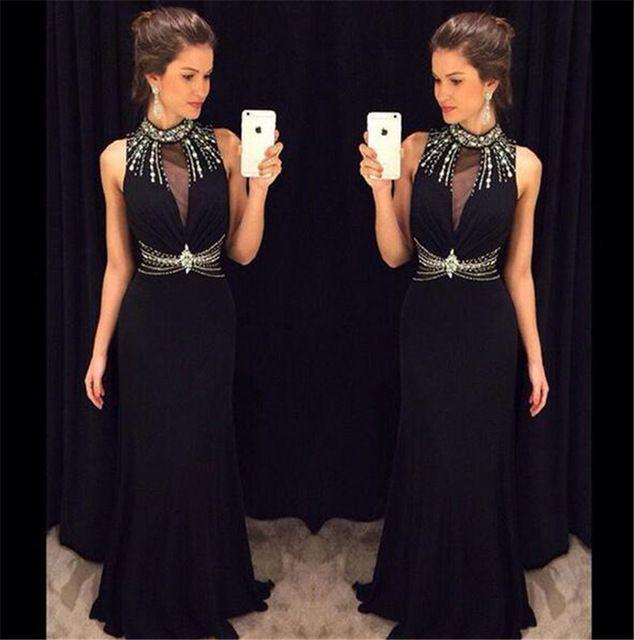 Sexy Black Prom Dresses, Halter Prom Dresses,Sleeveless Beaded