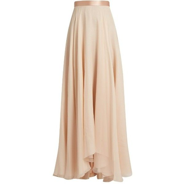 Lanvin Satin-waistband silk-crepon skirt ($3,885) ❤ liked on Polyvore featuring skirts, rose skirt, long silk skirt, silk skirt, lanvin and lanvin skirt