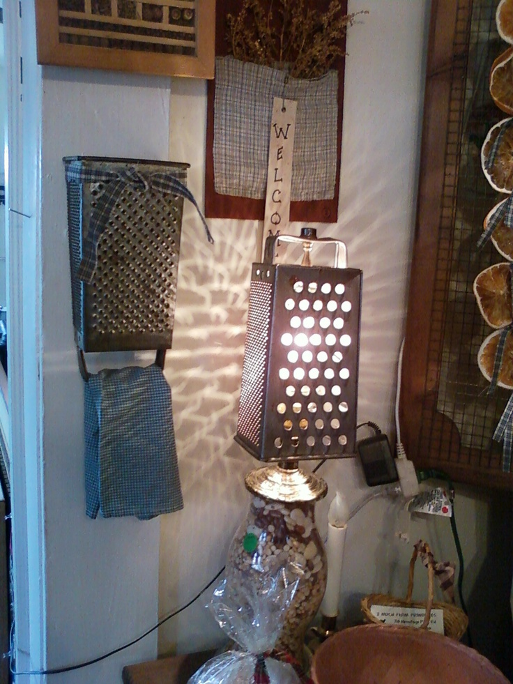 Primitive Cheese Grater Towel Holder And Lamp Peddlers