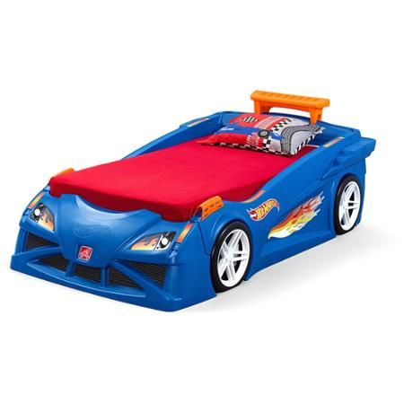 step2 hot wheels toddler to twin race car bed blue walmart
