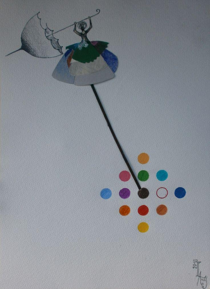 PACO ARIAS - Funambulista con paraguas 1 -  36x25 cm. - Collage y lápices de colores sobre papel.