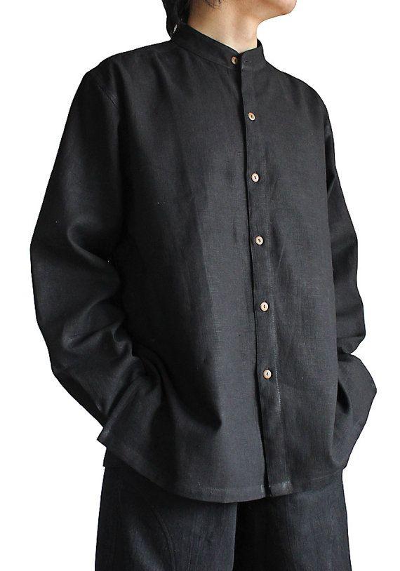 Hemp Banded Collar Shirt  BFS-006-01 by SawanAsia on Etsy