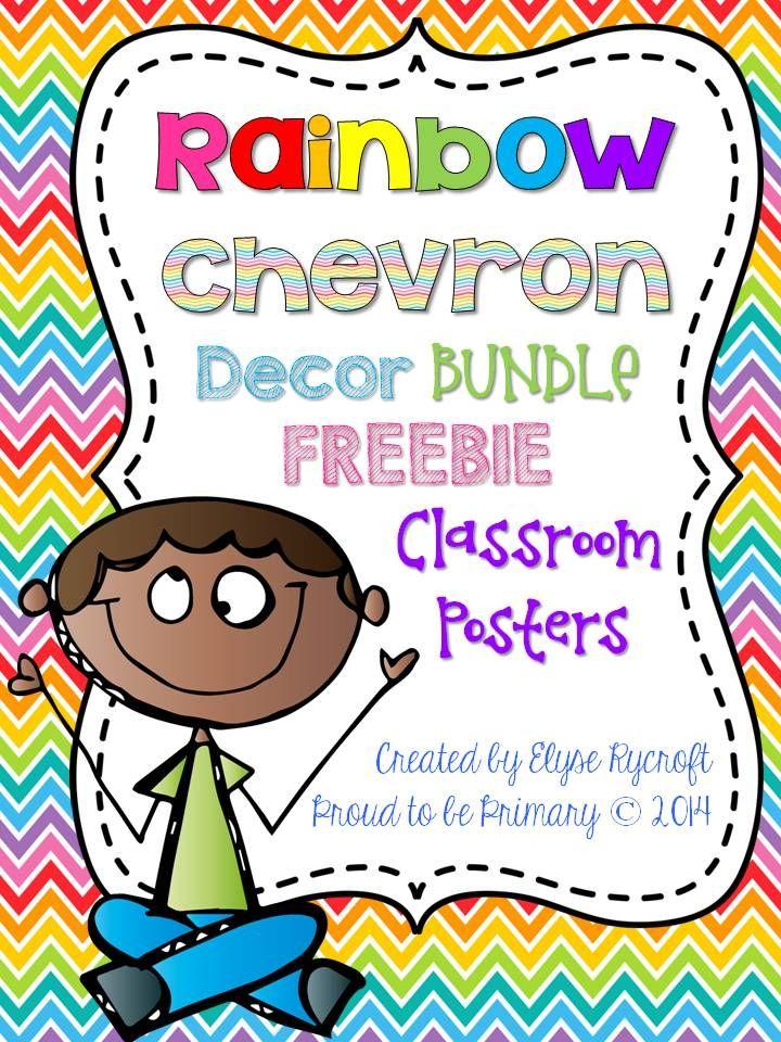 Rainbow Chevron Classroom Decor FREEBIE - Classroom Posters by Proud to be Primary www.proudtobeprimary.com