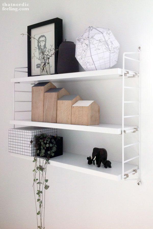 DIY mini houses   String pocket shelf   via thatnordicfeeling.com
