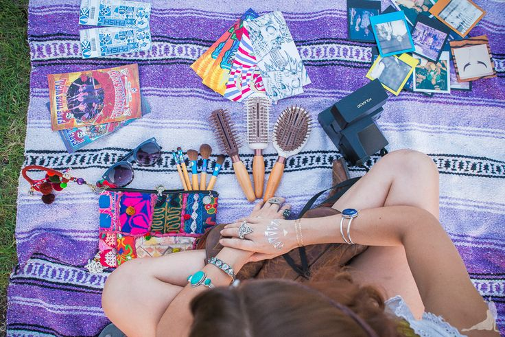 Lovely Looks Travel Makeup Brushes Eco Tools / Sleek Styling Hair Brushes Eco Tools Leather Wrap Headband Gypsy Junkies / Leather Pendant and Tassel Necklaces Gypsy Junkies / Metallic Tattoos Hot Jewels / Cowboy Boots Dan Post / Vintage Corset Tank Crush Vintage Candy / Gypsy Rings Flea Market Girl / Bangles Gypsy Junkies / Patchwork Purse Pachamama Bohemian
