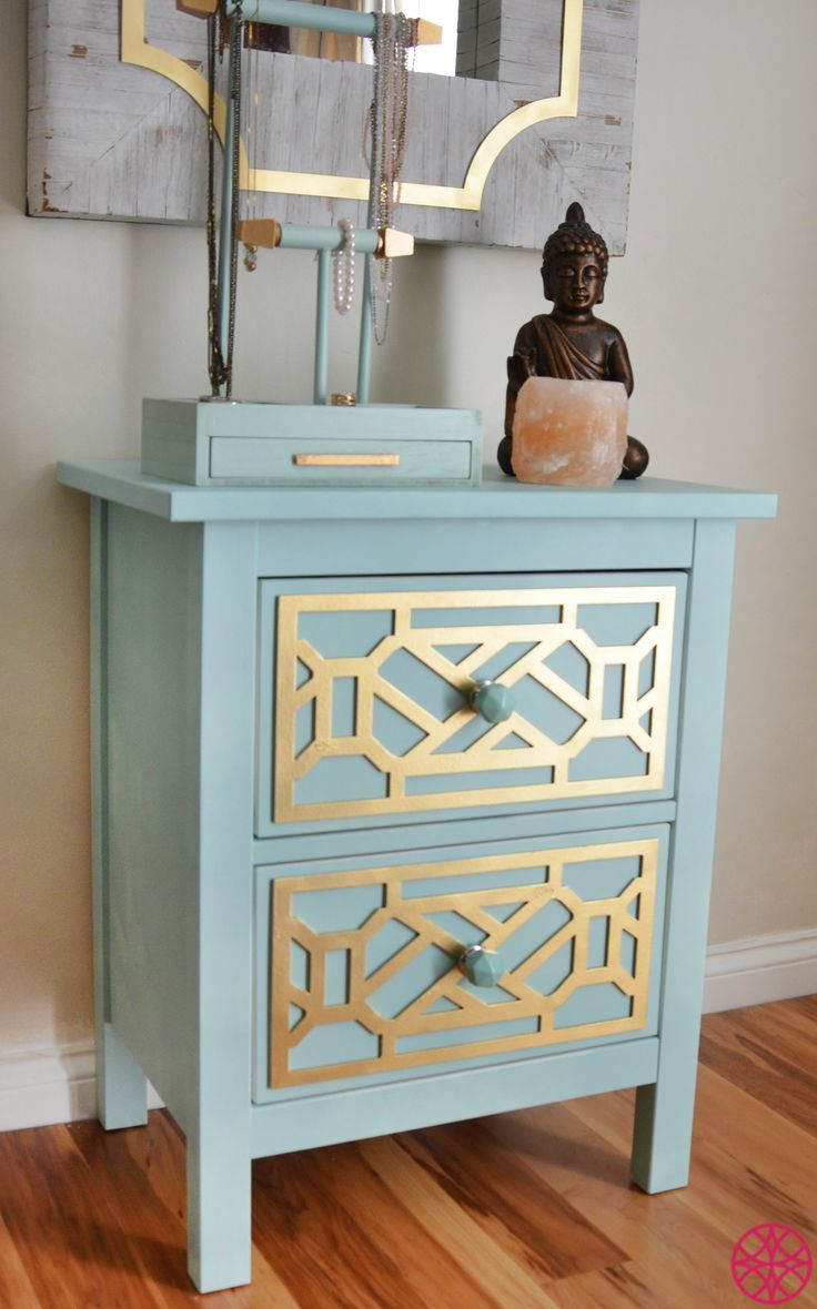 Pax Schrank Ikea Selber Zusammenstellen ~ Gold Cheryle O'verlays on the Ikea Hemnes nightstand painted robin's