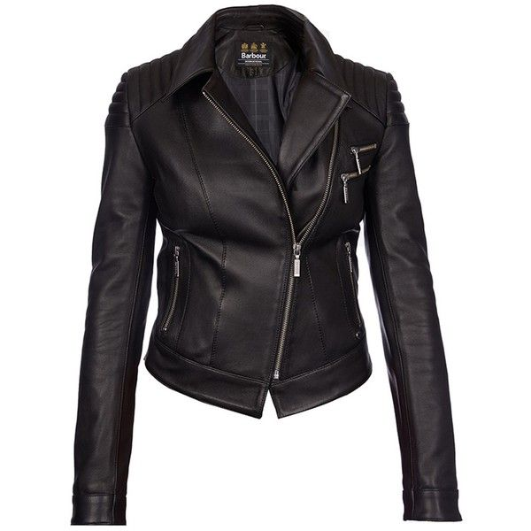 Women's Barbour International Farleigh Leather Jacket - Black ($1,020) ❤ liked on Polyvore featuring outerwear, jackets, real leather jacket, moto jacket, cropped biker jacket, leather motorcycle jacket and barbour international jacket