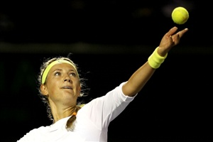 Victoria Azarenka of Belarus serves to Heather Watson of Great Britain during the Sony Ericsson Open at the Crandon Park Tennis Center on March 25, 2012 in Key Biscayne, Florida.