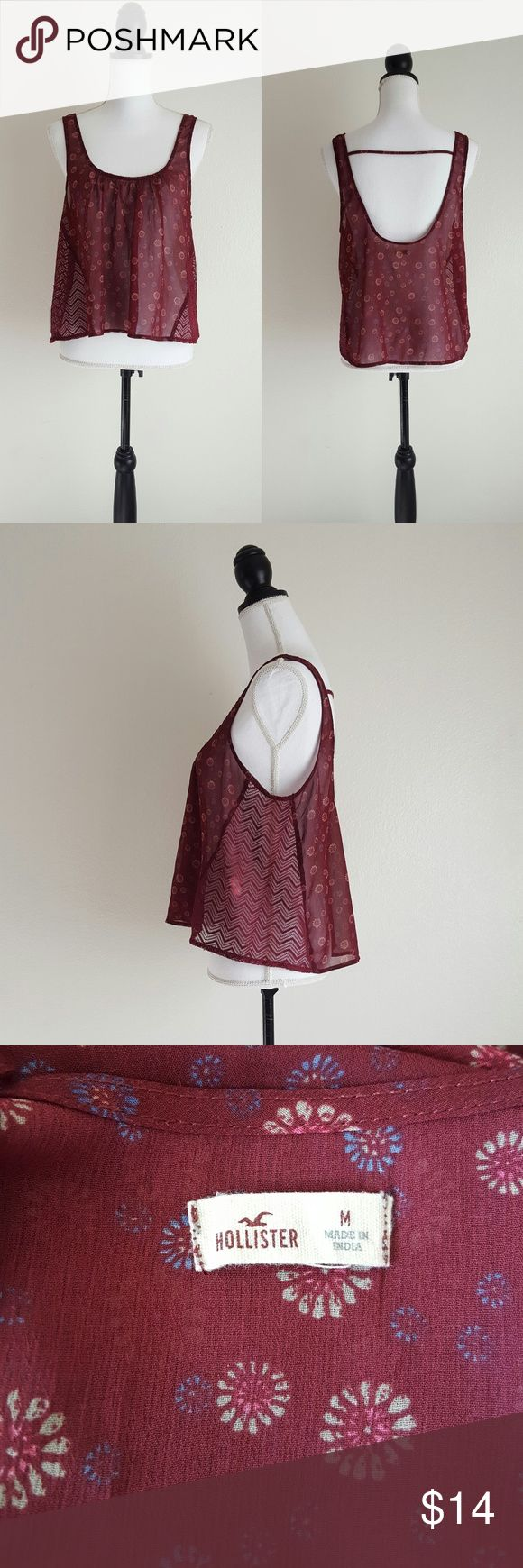Hollister Top Burgundy floral, hi-lo top. Great condition Hollister Tops